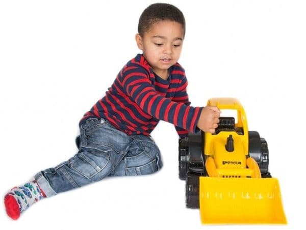 Toy tractor digger push along 46cm yellow role play kids DIY building construction truck